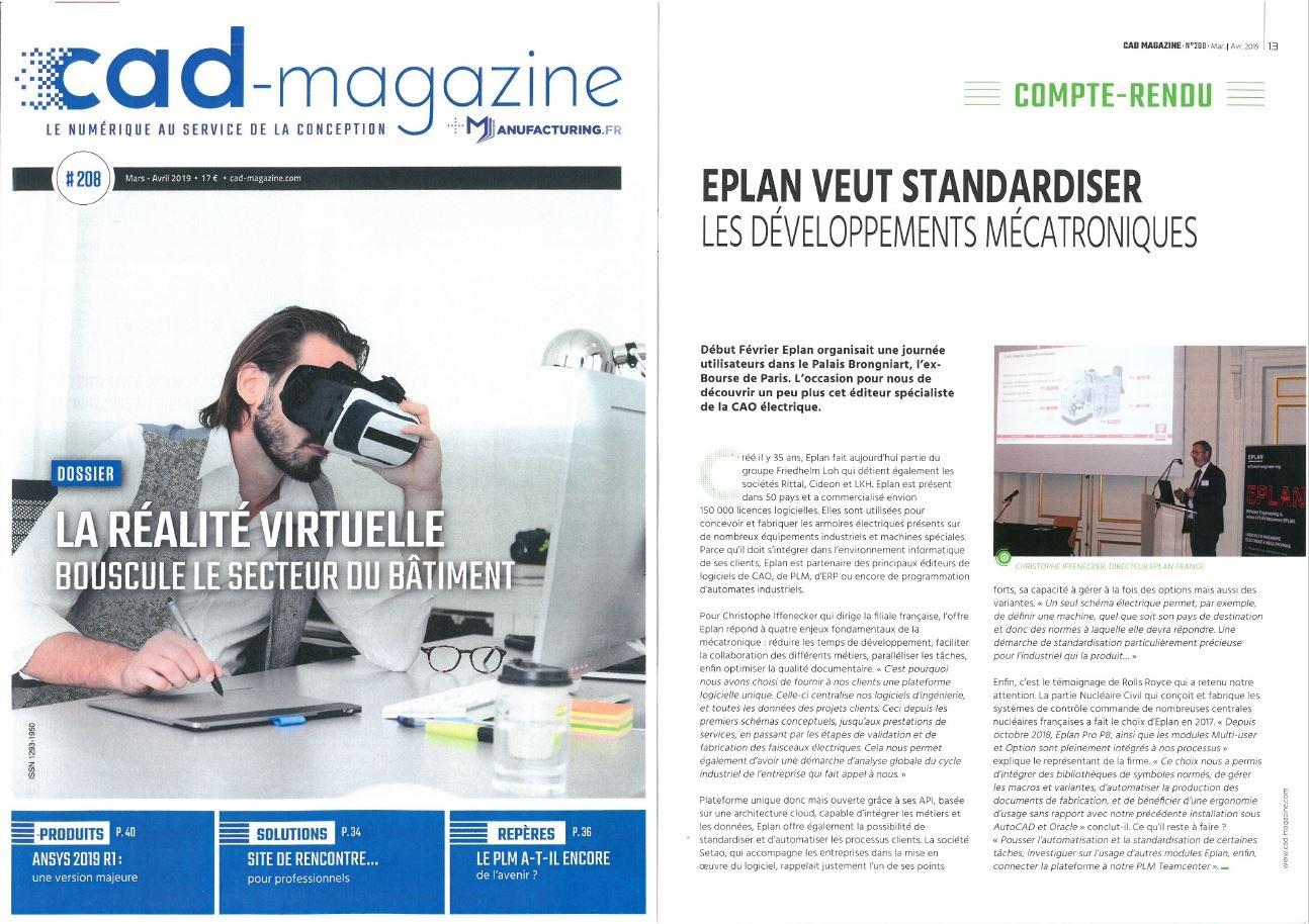 Article Presse CAD Magazine 208 Mars Avril 2019